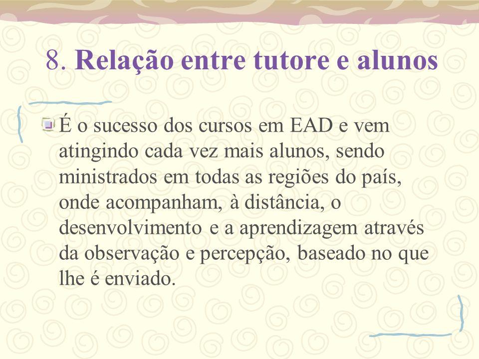 8. Relação entre tutore e alunos É o sucesso dos cursos em EAD e vem atingindo cada vez mais alunos, sendo ministrados em todas as regiões do país, on