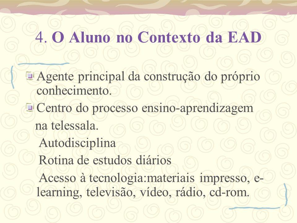 4. O Aluno no Contexto da EAD Agente principal da construção do próprio conhecimento. Centro do processo ensino-aprendizagem na telessala. Autodiscipl