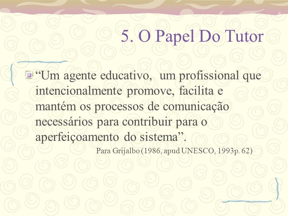 5. O Papel Do Tutor Um agente educativo, um profissional que intencionalmente promove, facilita e mantém os processos de comunicação necessários para