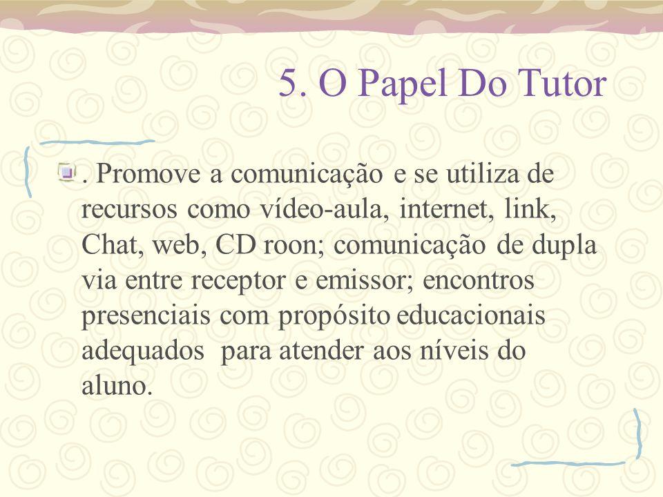 5. O Papel Do Tutor. Promove a comunicação e se utiliza de recursos como vídeo-aula, internet, link, Chat, web, CD roon; comunicação de dupla via entr