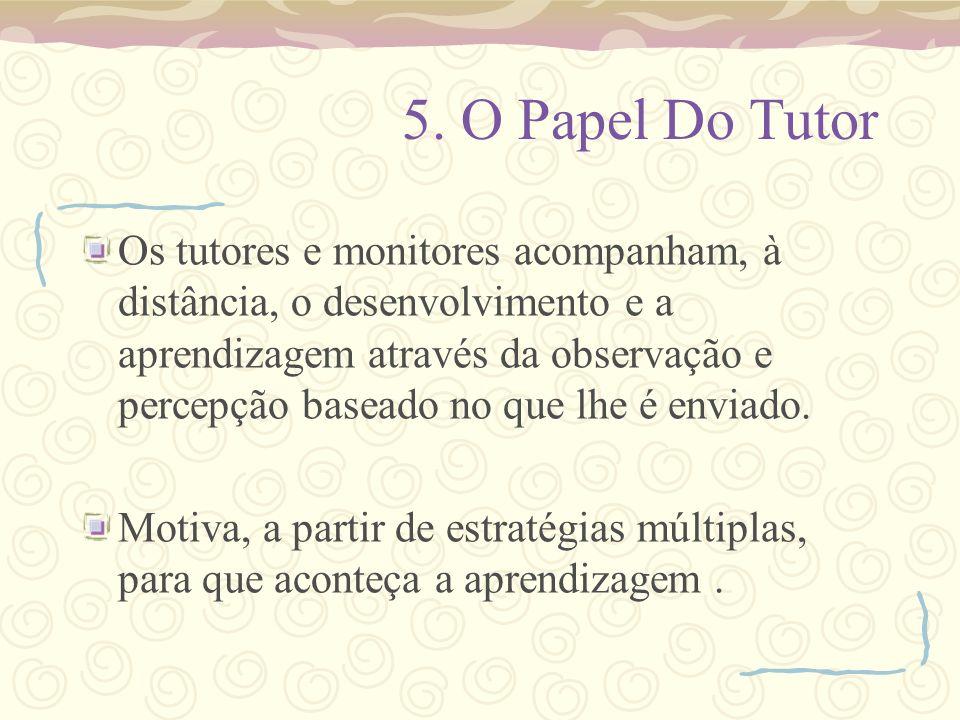 5. O Papel Do Tutor Os tutores e monitores acompanham, à distância, o desenvolvimento e a aprendizagem através da observação e percepção baseado no qu