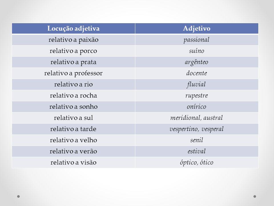Locução adjetivaAdjetivo relativo a paixãopassional relativo a porcosuíno relativo a prataargênteo relativo a professordocente relativo a riofluvial r
