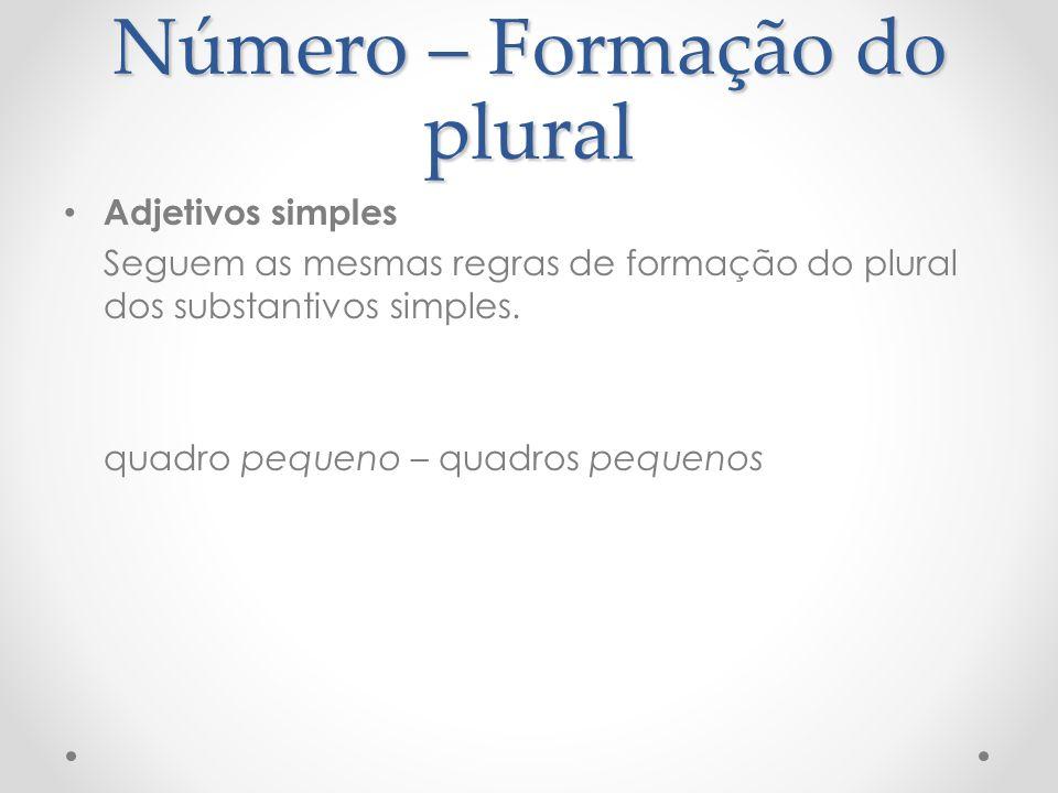 Número – Formação do plural Adjetivos simples Seguem as mesmas regras de formação do plural dos substantivos simples. quadro pequeno – quadros pequeno