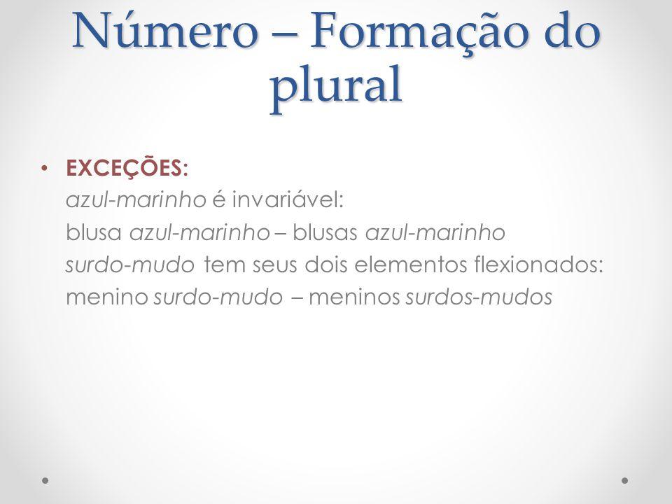 Número – Formação do plural EXCEÇÕES: azul-marinho é invariável: blusa azul-marinho – blusas azul-marinho surdo-mudo tem seus dois elementos flexionad