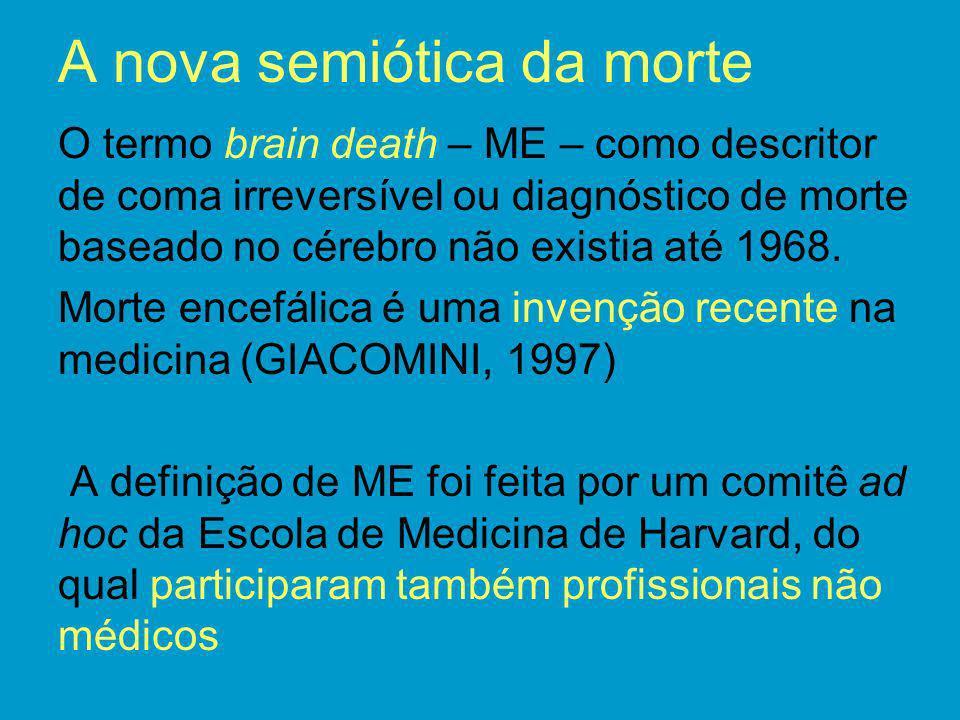 A nova semiótica da morte O termo brain death – ME – como descritor de coma irreversível ou diagnóstico de morte baseado no cérebro não existia até 19