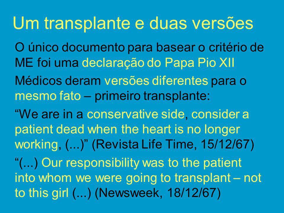 Um transplante e duas versões O único documento para basear o critério de ME foi uma declaração do Papa Pio XII Médicos deram versões diferentes para