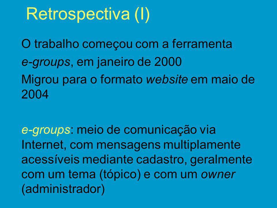 Retrospectiva (I) O trabalho começou com a ferramenta e-groups, em janeiro de 2000 Migrou para o formato website em maio de 2004 e-groups: meio de com