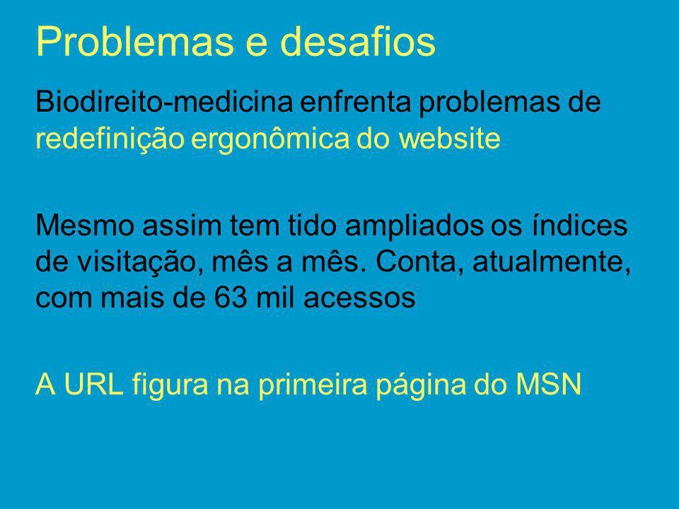 Problemas e desafios Biodireito-medicina enfrenta problemas de redefinição ergonômica do website Mesmo assim tem tido ampliados os índices de visitaçã