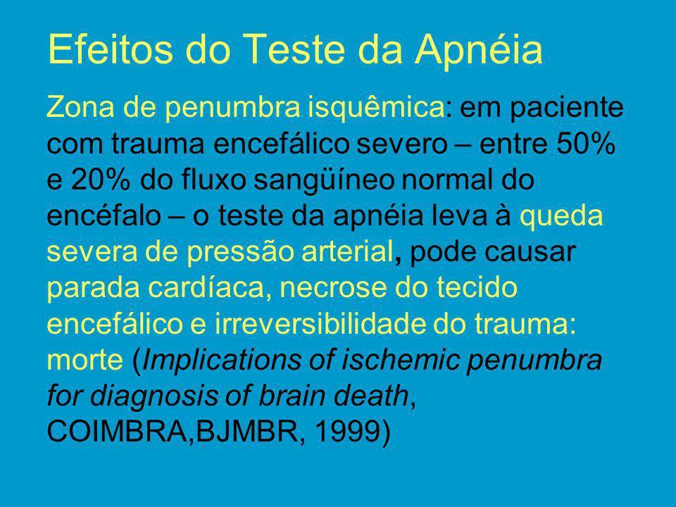 Efeitos do Teste da Apnéia Zona de penumbra isquêmica: em paciente com trauma encefálico severo – entre 50% e 20% do fluxo sangüíneo normal do encéfal