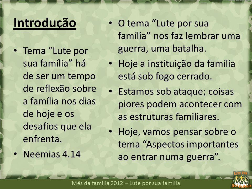 Mês da família 2012 – Lute por sua família Introdução Tema Lute por sua família há de ser um tempo de reflexão sobre a família nos dias de hoje e os d