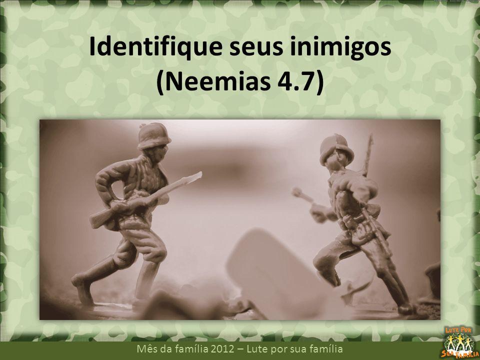 Mês da família 2012 – Lute por sua família Em todas as guerras, é preciso que tenhamos bem claro quem são nossos inimigos.