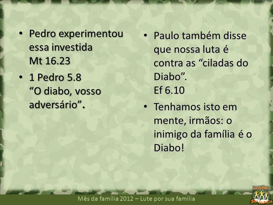 Mês da família 2012 – Lute por sua família Pedro experimentou essa investida Mt 16.23 Pedro experimentou essa investida Mt 16.23 1 Pedro 5.8 O diabo,