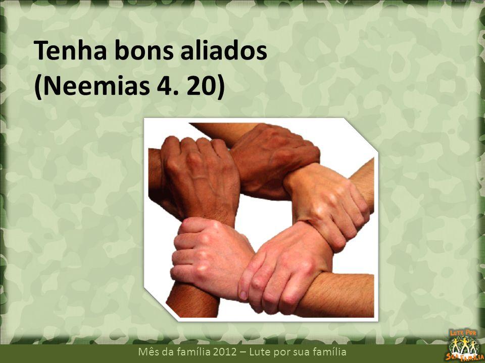 Mês da família 2012 – Lute por sua família Tenha bons aliados (Neemias 4. 20)