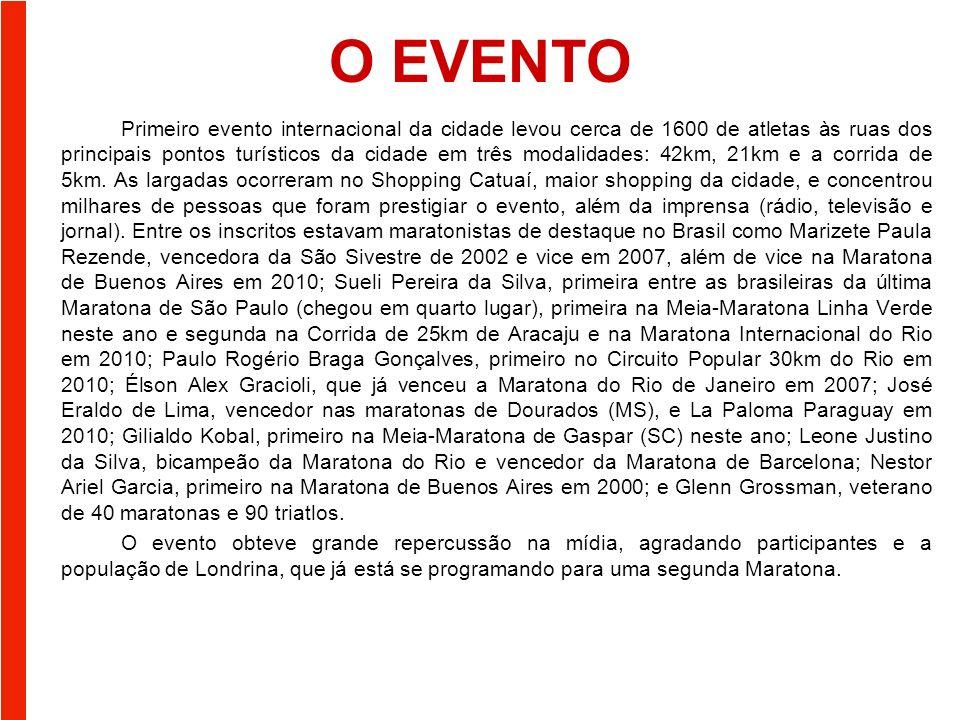 O EVENTO Primeiro evento internacional da cidade levou cerca de 1600 de atletas às ruas dos principais pontos turísticos da cidade em três modalidades: 42km, 21km e a corrida de 5km.