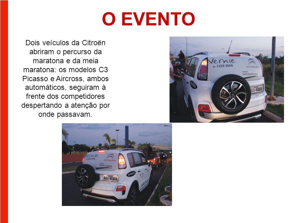 O EVENTO Dois veículos da Citroën abriram o percurso da maratona e da meia maratona: os modelos C3 Picasso e Aircross, ambos automáticos, seguiram à frente dos competidores despertando a atenção por onde passavam.
