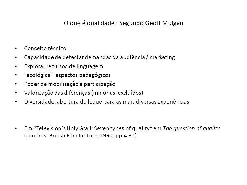 O que é qualidade? Segundo Geoff Mulgan Conceito técnico Capacidade de detectar demandas da audiência / marketing Explorar recursos de linguagem ecoló