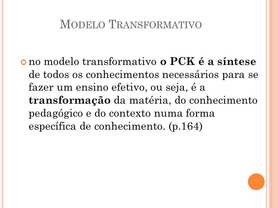 M ODELO T RANSFORMATIVO no modelo transformativo o PCK é a síntese de todos os conhecimentos necessários para se fazer um ensino efetivo, ou seja, é a
