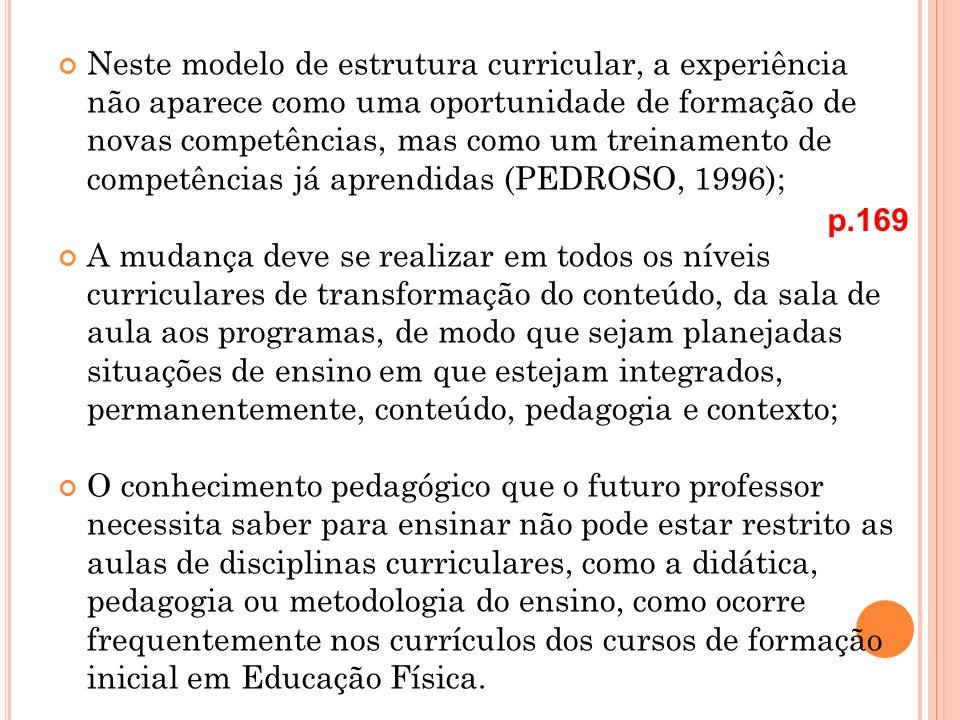 Neste modelo de estrutura curricular, a experiência não aparece como uma oportunidade de formação de novas competências, mas como um treinamento de co