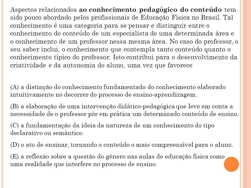 Aspectos relacionados ao conhecimento pedagógico do conteúdo tem sido pouco abordado pelos profissionais de Educação Física no Brasil. Tal conheciment