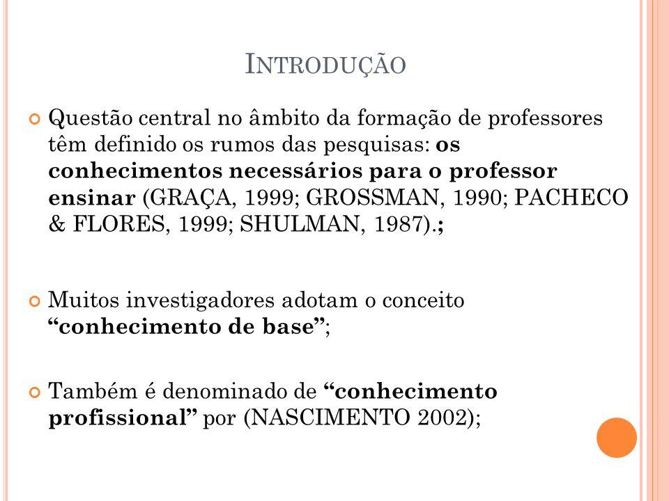 I NTRODUÇÃO Questão central no âmbito da formação de professores têm definido os rumos das pesquisas: os conhecimentos necessários para o professor en