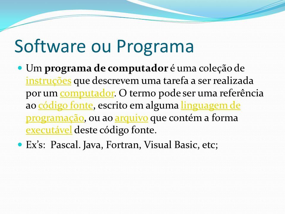Software ou Programa Um programa de computador é uma coleção de instruções que descrevem uma tarefa a ser realizada por um computador. O termo pode se