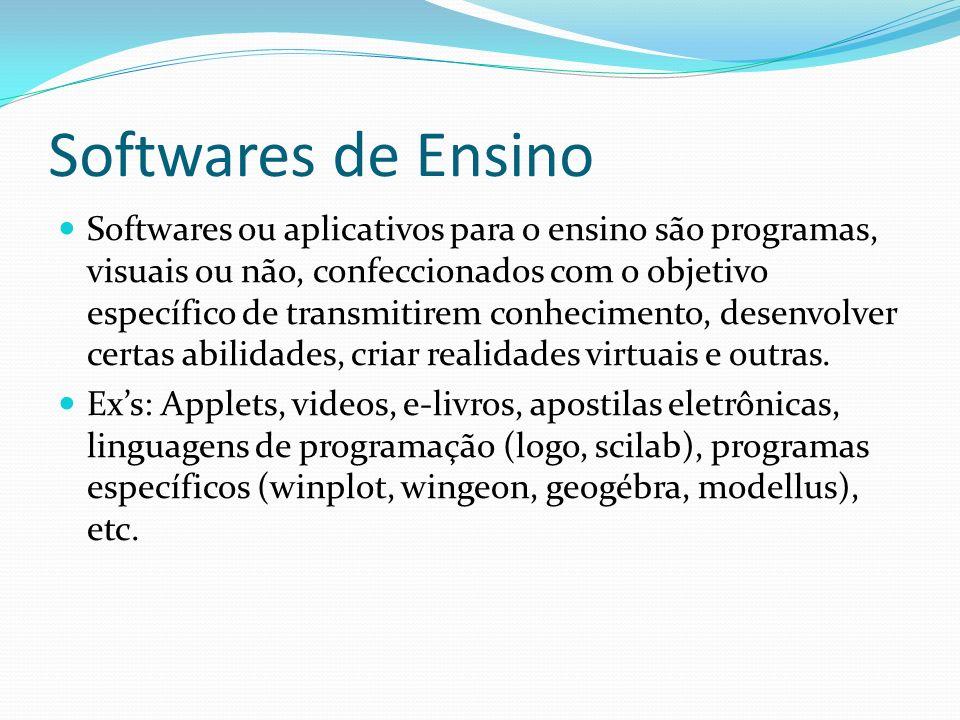 Softwares de Ensino Softwares ou aplicativos para o ensino são programas, visuais ou não, confeccionados com o objetivo específico de transmitirem con