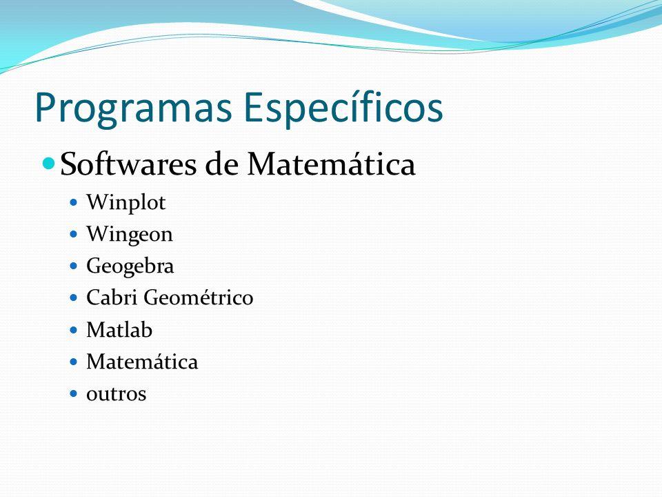 Programas Específicos Softwares de Matemática Winplot Wingeon Geogebra Cabri Geométrico Matlab Matemática outros