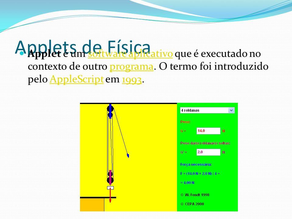 Applets de Física Applet é um software aplicativo que é executado no contexto de outro programa. O termo foi introduzido pelo AppleScript em 1993.soft