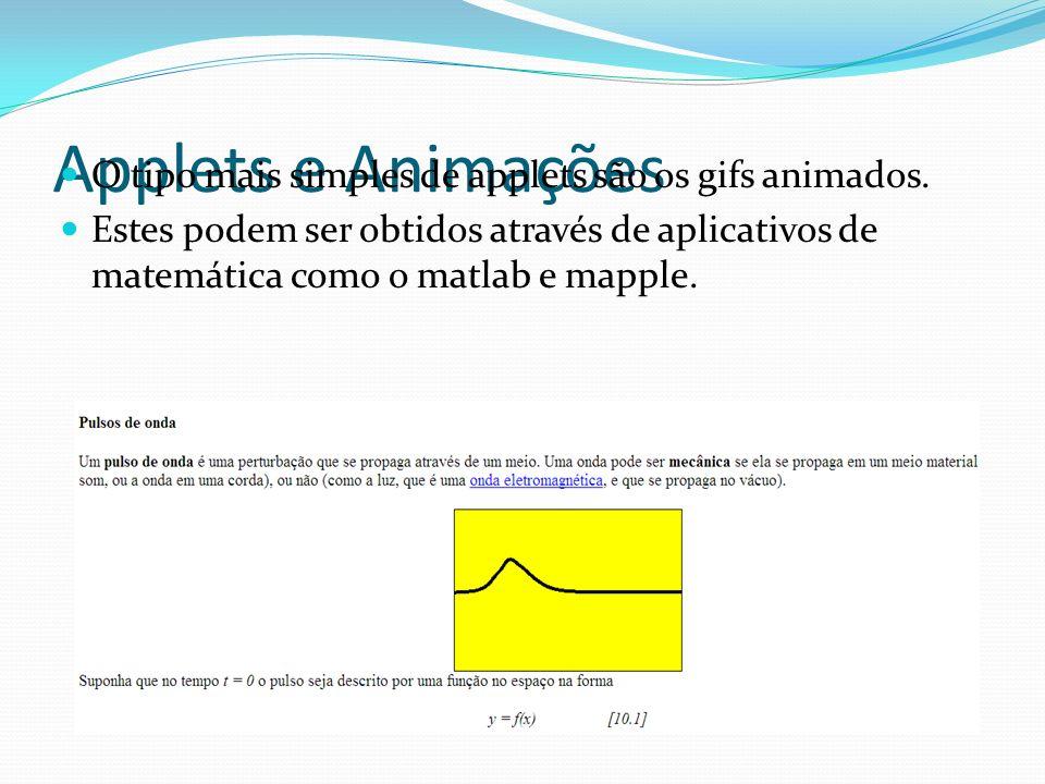 Applets e Animações O tipo mais simples de applets são os gifs animados. Estes podem ser obtidos através de aplicativos de matemática como o matlab e
