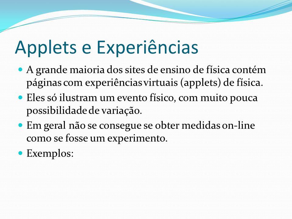 Applets e Experiências A grande maioria dos sites de ensino de física contém páginas com experiências virtuais (applets) de física. Eles só ilustram u