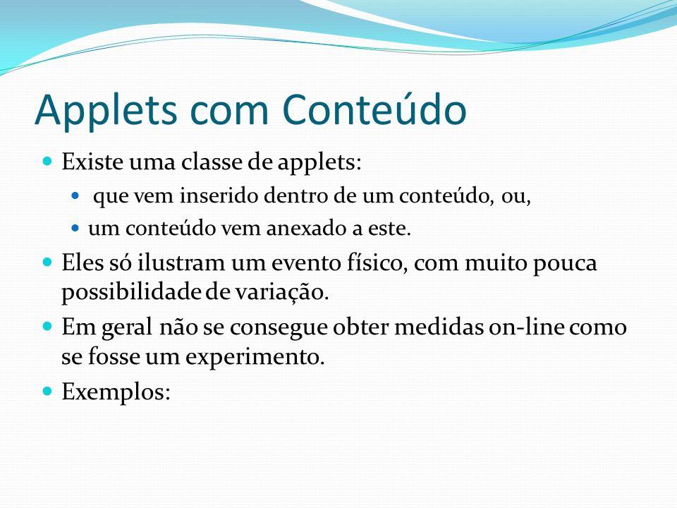Applets com Conteúdo Existe uma classe de applets: que vem inserido dentro de um conteúdo, ou, um conteúdo vem anexado a este. Eles só ilustram um eve