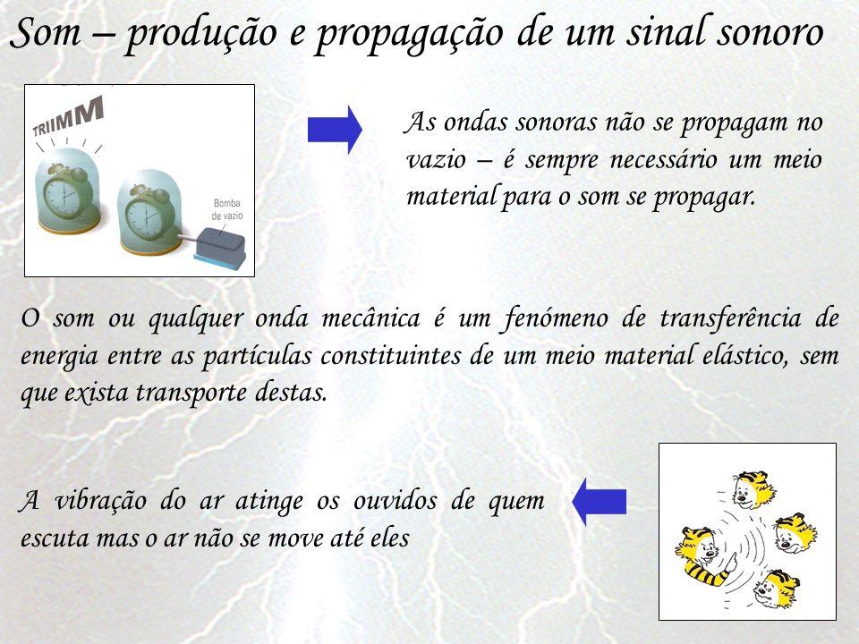 Som – produção e propagação de um sinal sonoro As ondas sonoras não se propagam no vazio – é sempre necessário um meio material para o som se propagar