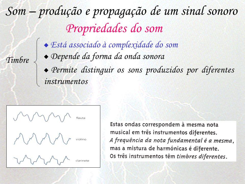 Som – produção e propagação de um sinal sonoro Propriedades do som Timbre Está associado à complexidade do som Depende da forma da onda sonora Permite