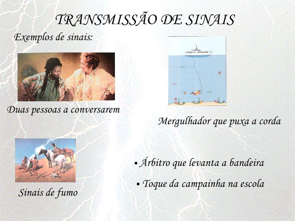 TRANSMISSÃO DE SINAIS Árbitro que levanta a bandeira Exemplos de sinais: Duas pessoas a conversarem Mergulhador que puxa a corda Sinais de fumo Toque