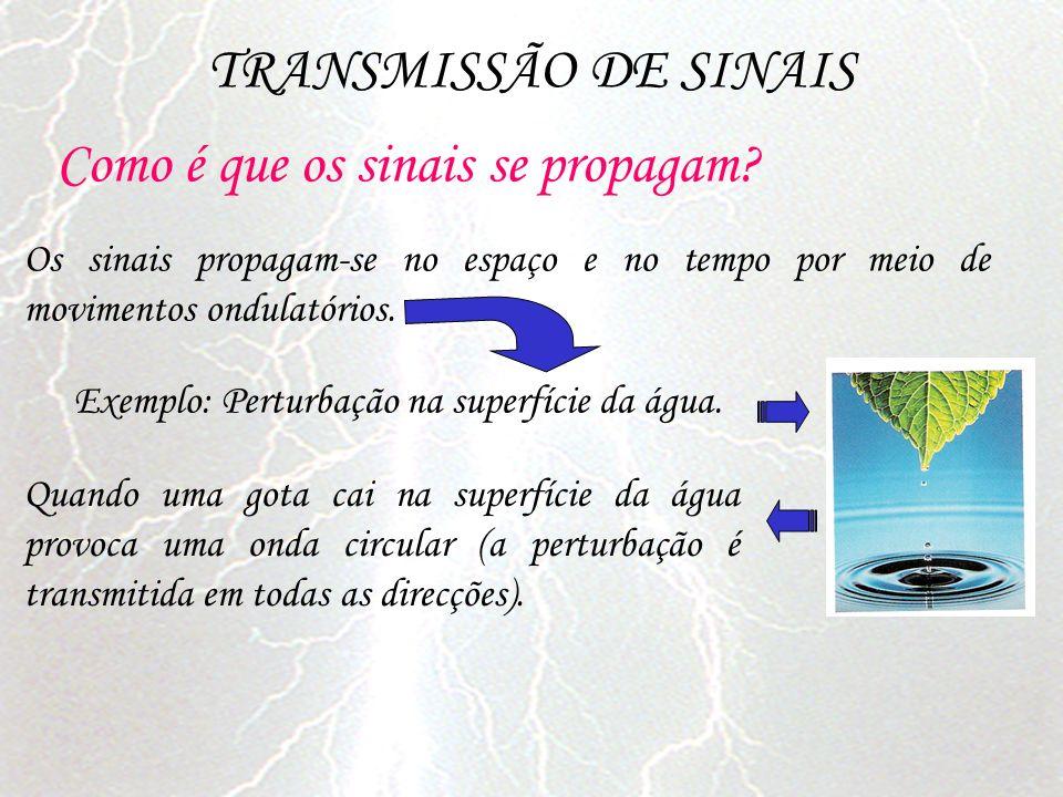 TRANSMISSÃO DE SINAIS Como é que os sinais se propagam? Os sinais propagam-se no espaço e no tempo por meio de movimentos ondulatórios. Exemplo: Pertu