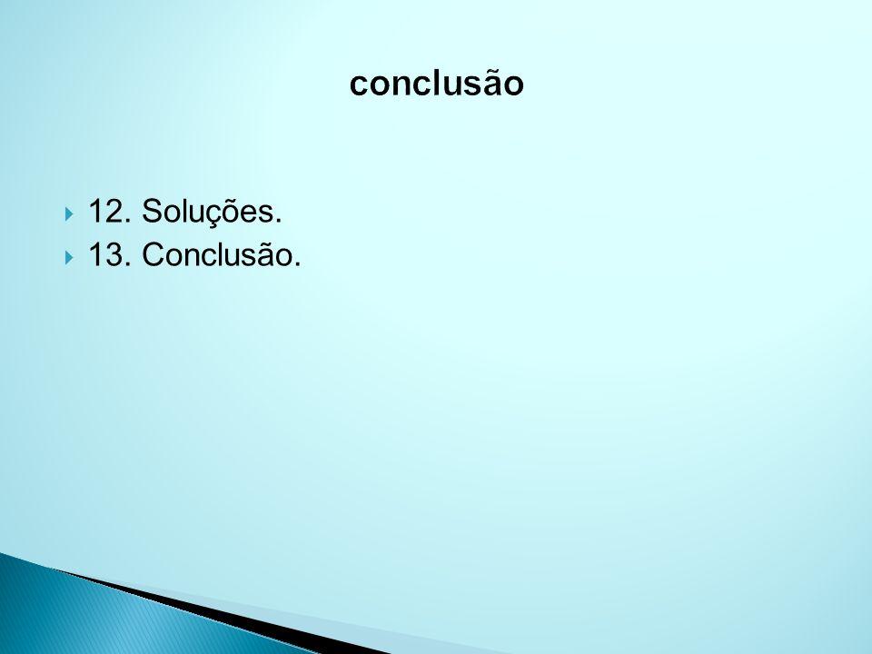 12. Soluções. 13. Conclusão.