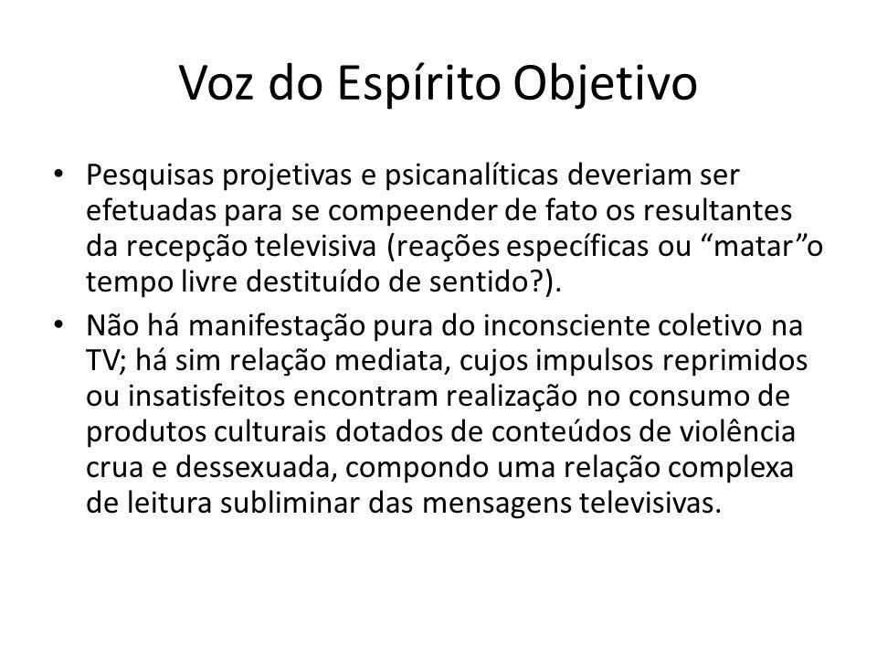 Voz do Espírito Objetivo Pesquisas projetivas e psicanalíticas deveriam ser efetuadas para se compeender de fato os resultantes da recepção televisiva