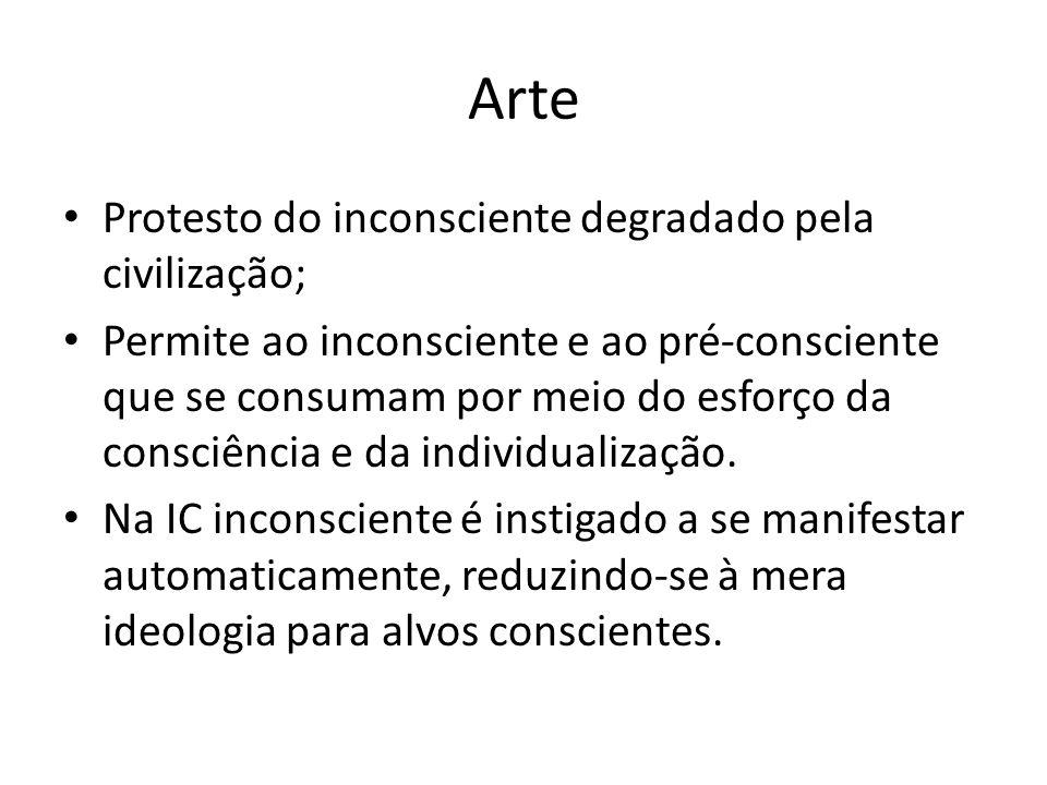 Arte Protesto do inconsciente degradado pela civilização; Permite ao inconsciente e ao pré-consciente que se consumam por meio do esforço da consciênc
