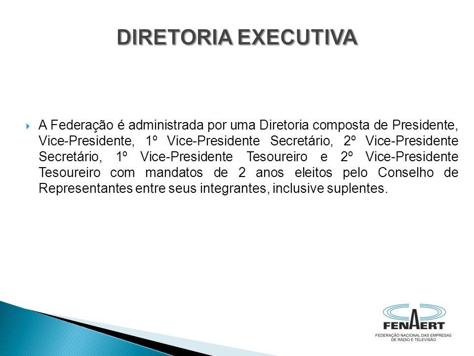 A Federação é administrada por uma Diretoria composta de Presidente, Vice-Presidente, 1º Vice-Presidente Secretário, 2º Vice-Presidente Secretário, 1º