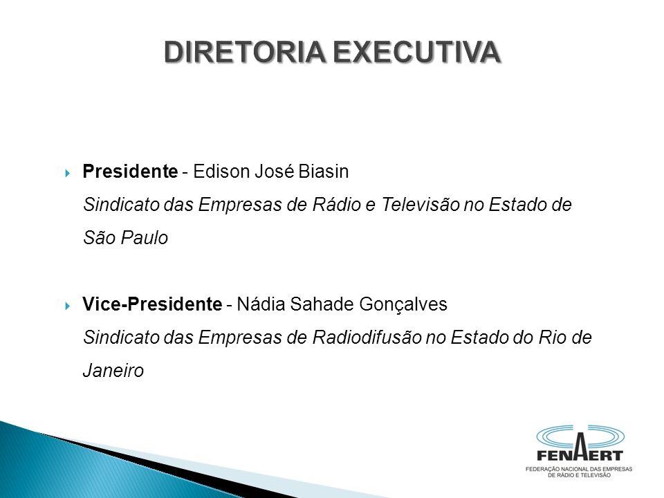 Presidente - Edison José Biasin Sindicato das Empresas de Rádio e Televisão no Estado de São Paulo Vice-Presidente - Nádia Sahade Gonçalves Sindicato