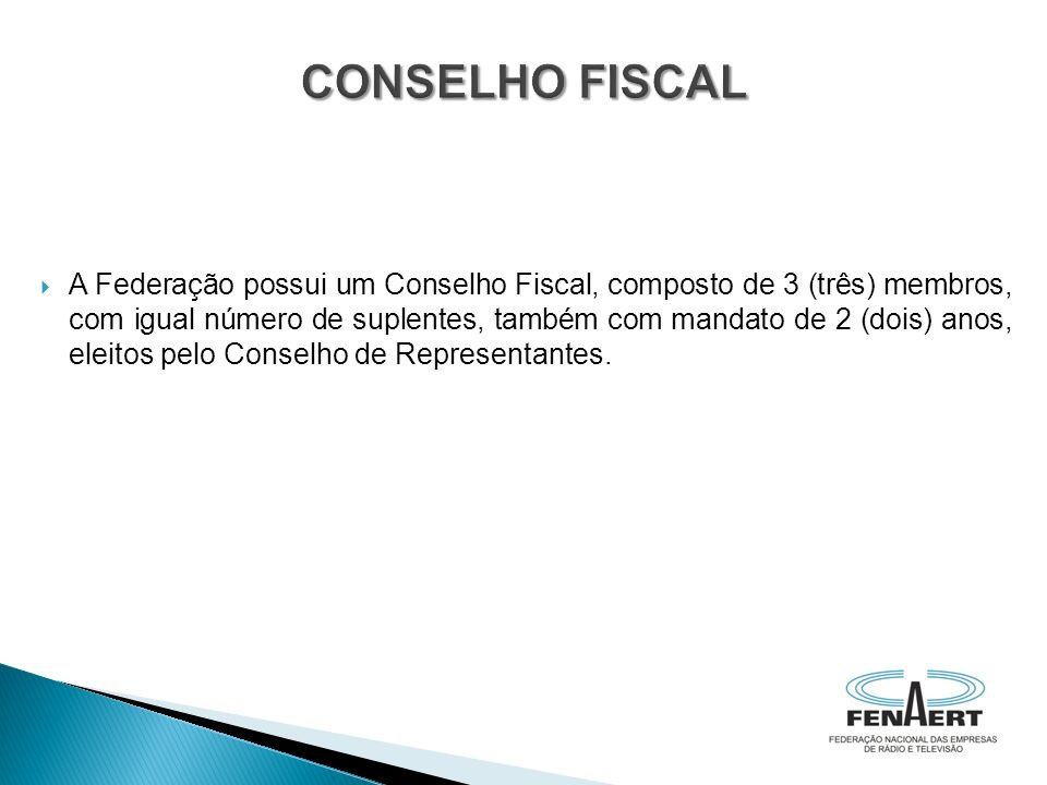 A Federação possui um Conselho Fiscal, composto de 3 (três) membros, com igual número de suplentes, também com mandato de 2 (dois) anos, eleitos pelo