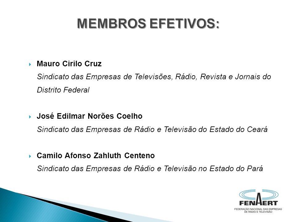 Mauro Cirilo Cruz Sindicato das Empresas de Televisões, Rádio, Revista e Jornais do Distrito Federal José Edilmar Norões Coelho Sindicato das Empresas