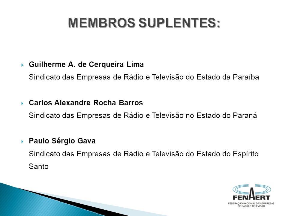 Guilherme A. de Cerqueira Lima Sindicato das Empresas de Rádio e Televisão do Estado da Paraíba Carlos Alexandre Rocha Barros Sindicato das Empresas d