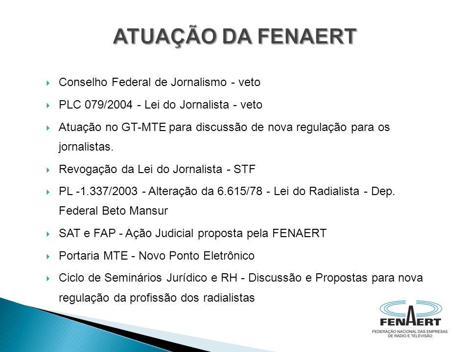 Conselho Federal de Jornalismo - veto PLC 079/2004 - Lei do Jornalista - veto Atuação no GT-MTE para discussão de nova regulação para os jornalistas.