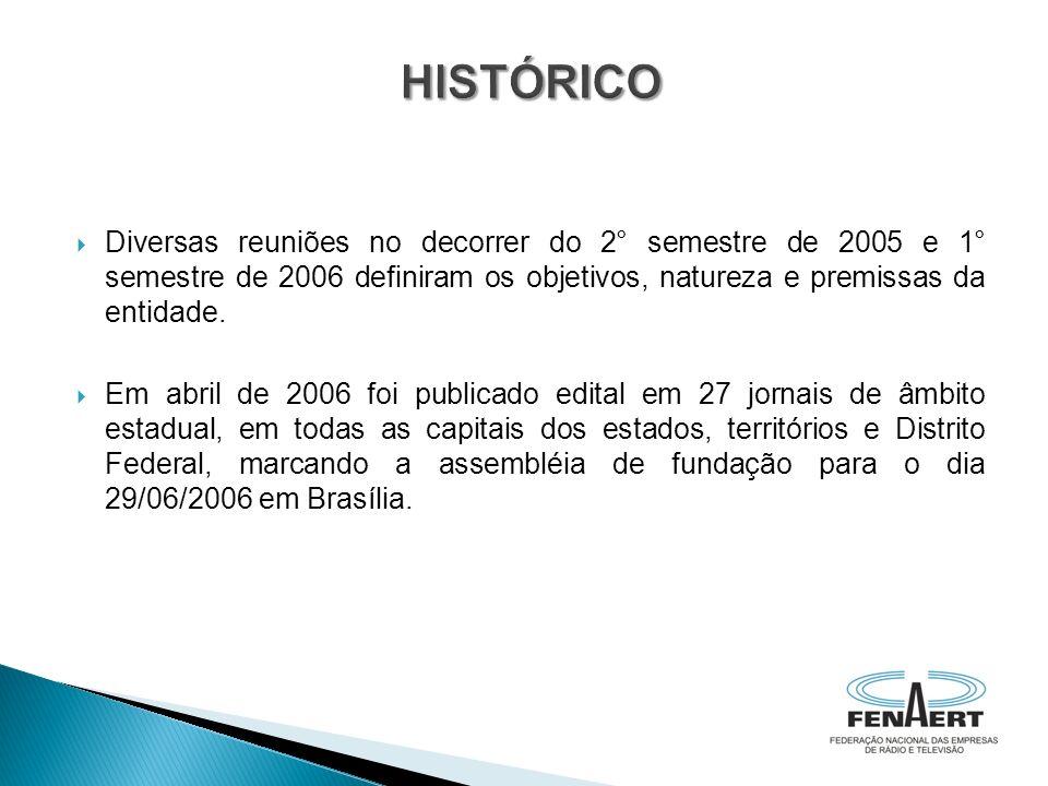 Diversas reuniões no decorrer do 2° semestre de 2005 e 1° semestre de 2006 definiram os objetivos, natureza e premissas da entidade. Em abril de 2006