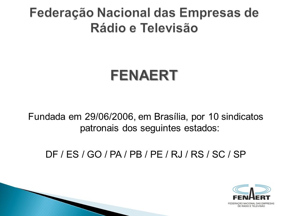 Fundada em 29/06/2006, em Brasília, por 10 sindicatos patronais dos seguintes estados: DF / ES / GO / PA / PB / PE / RJ / RS / SC / SP