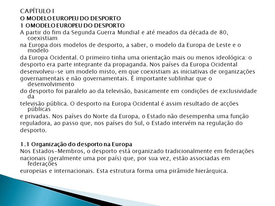 CAPÍTULO I O MODELO EUROPEU DO DESPORTO 1 OMODELO EUROPEU DO DESPORTO A partir do fim da Segunda Guerra Mundial e até meados da década de 80, coexisti