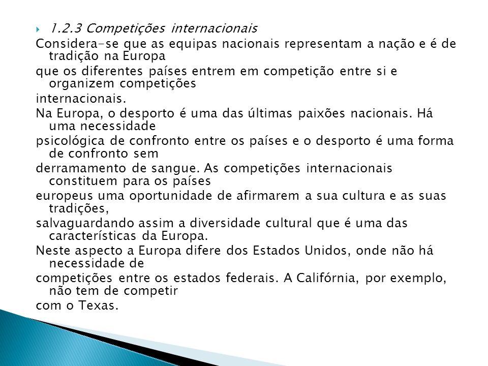 1.2.3 Competições internacionais Considera-se que as equipas nacionais representam a nação e é de tradição na Europa que os diferentes países entrem e