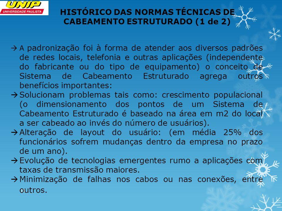 15 HISTÓRICO DAS NORMAS TÉCNICAS DE CABEAMENTO ESTRUTURADO (1 de 2) A padronização foi à forma de atender aos diversos padrões de redes locais, telefo