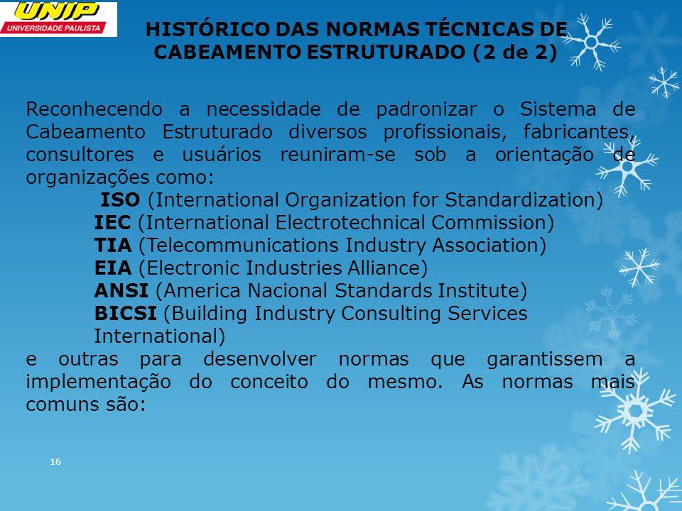 16 HISTÓRICO DAS NORMAS TÉCNICAS DE CABEAMENTO ESTRUTURADO (2 de 2) Reconhecendo a necessidade de padronizar o Sistema de Cabeamento Estruturado diversos profissionais, fabricantes, consultores e usuários reuniram-se sob a orientação de organizações como: ISO (International Organization for Standardization) IEC (International Electrotechnical Commission) TIA (Telecommunications Industry Association) EIA (Electronic Industries Alliance) ANSI (America Nacional Standards Institute) BICSI (Building Industry Consulting Services International) e outras para desenvolver normas que garantissem a implementação do conceito do mesmo.